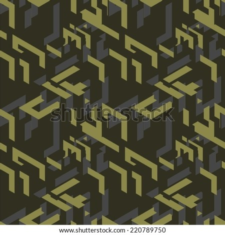 Modern Isometric Seamless Pattern - stock vector