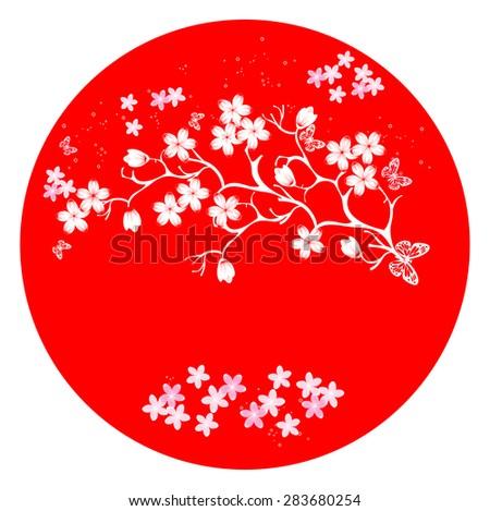 modern japanese cherry blossom template vector.  Sunset - stock vector