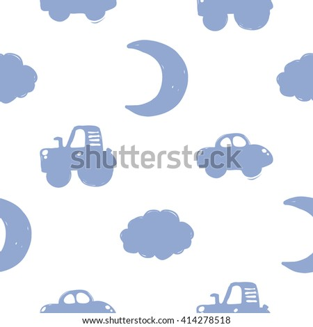 Modern kids soft colored seamless pattern with car, cloud, tractor, new moon. Hand drawn graphic with tender cute minimalistic scandinavian cartoon elements isolated on white background - stock vector