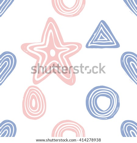 Modern kids soft colored seamless pattern with line egg, star, pyramid, circle, line heart. Hand drawn graphic with tender cute minimalistic scandinavian cartoon elements isolated on white background