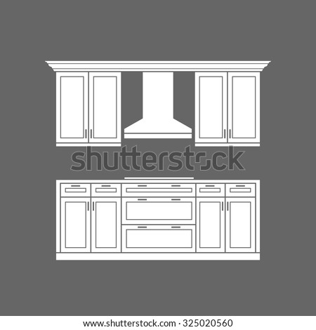 Modern kitchen cabinets with cook top white design - stock vector