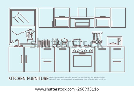 Modern Kitchen Furniture Interior Design Utensils Stock Vector 268935116 Shutterstock