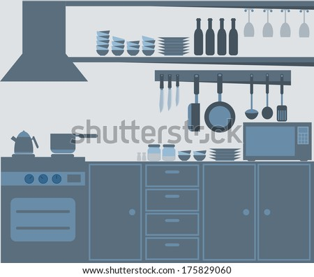 Modern kitchen interior - stock vector