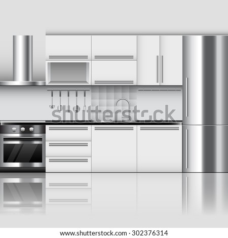 Modern kitchen interior photo realistic vector background - stock vector
