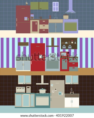 Modern kitchen interior set