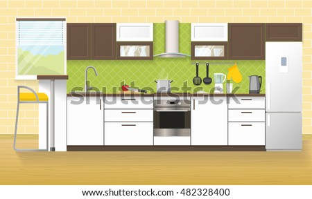 Modern Kitchen Interior With White Brown Furniture Cooker Hood Household  Appliances Beige Wall And Floor Vector