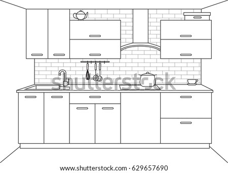 Modern Kitchen. Kitchen Furniture With Sink, Hob And Extractor. Vector  Illustration In A