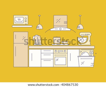 Modern kitchen on yellow background. House decor concept. Kitchen appliances and modern house illustration.