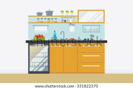 Modern kitchen with appliances, dishwasher, sink, kitchenware. Creative concept interior with ergonomic furniture. Flat icon design, minimalist style. Vector illustration - 10 EPS - for your project - stock vector