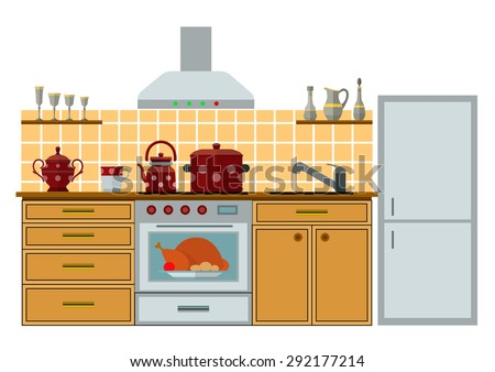 Modern kitchen with furniture. Eps10 vector illustration. Isolated on white background