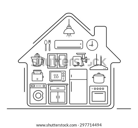 Modern kitchenware thin line icons . Kitchen interior with electronics and furniture illustration. Cooking appliances. Vector house outline drawing concept isolated on white - stock vector