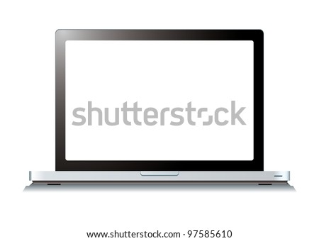 Modern laptop computer with blank white screen