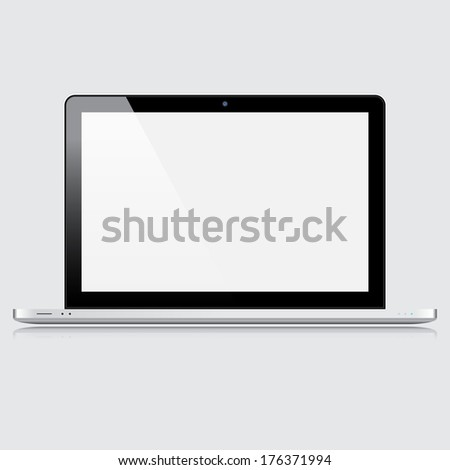Modern laptop isolated on white background - stock vector