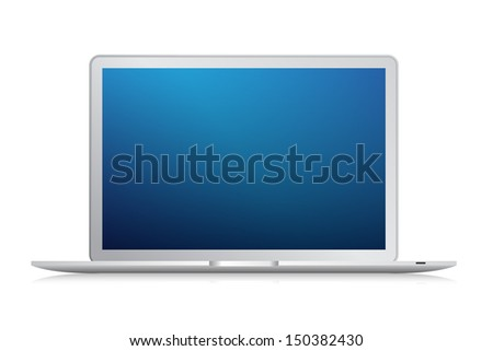 Modern laptop isolated on white background - Vector illustration - stock vector