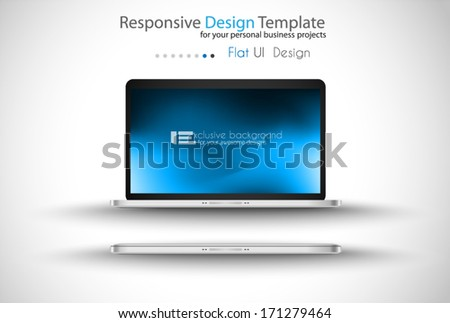 Modern laptop - open and close version with background. Shadows are transparent, ready to copy and past everywhere. - stock vector