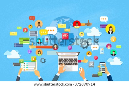 Modern Laptop Tablet Smart Cell Phone Social Network Communication Concept Flat Vector Illustration - stock vector