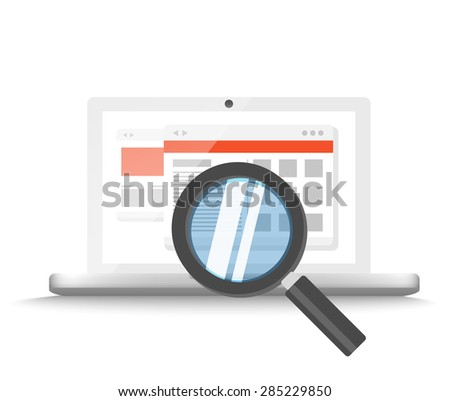 Modern laptop with magnifier searching information on website. Vector illustration  - stock vector
