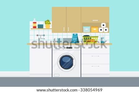 creative furniture icons set flat design. Modern Laundry Room With Washing Machine, Basket, Equipment. Creative Concept Interior Furniture Icons Set Flat Design