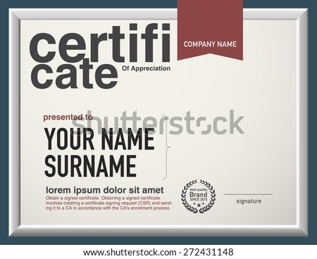 Modern layout vector certificate template. - stock vector