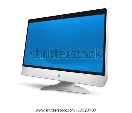 Modern LCD monitor. Vector Illustration. EPS8. Mesh. - stock vector