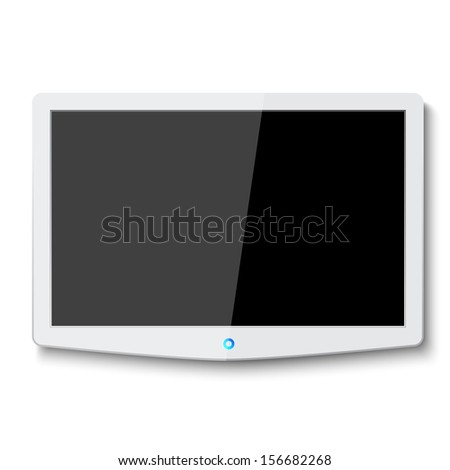 Modern LCD TV hanging on wall with blank screen  - stock vector