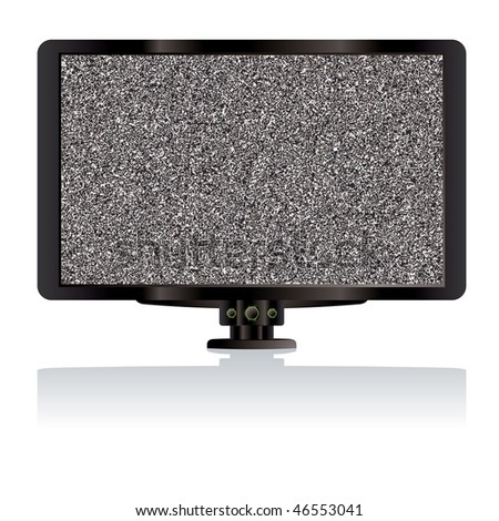 Modern LCD TV or television computer monitor with static - stock vector