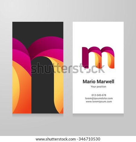 Modern letter m twisted colorful Business card template. Vector design. Layered, editable. - stock vector