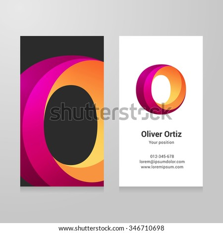 Modern letter o twisted colorful Business card template. Vector design. Layered, editable. - stock vector