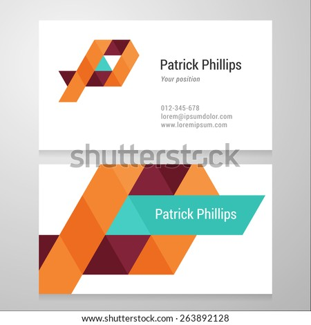 Modern letter P Business card template. Vector design. Layered, editable. - stock vector