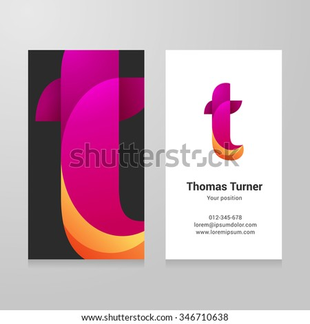 Modern letter t twisted colorful Business card template. Vector design. Layered, editable. - stock vector