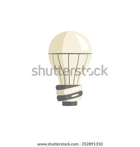 modern light bulb icon, cartoon flat style vector illustration on isolated white background - stock vector
