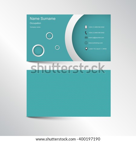 Modern light green or blue business card with rounded shape on backround in nice colors containing phone, e-mail, location and website. Front and rear view. Steel colors - stock vector