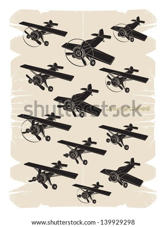 Modern light monoplanes, vector - stock vector