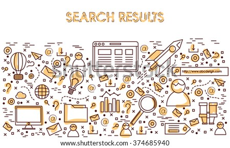 Modern line art illustration of Online Search Result, SEO Technology and Marketing in doodle design style for Web Banners, Hero Images, Printed or Promotional Materials. - stock vector