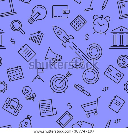 Modern line icons seamless pattern texture of start up, business diagram objects.