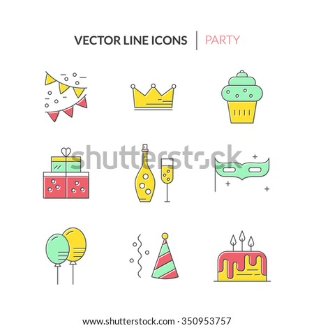 Modern line style icons with party and event planning icons. Birthday cake, champagne, decoration, presents and other celebration symbols.