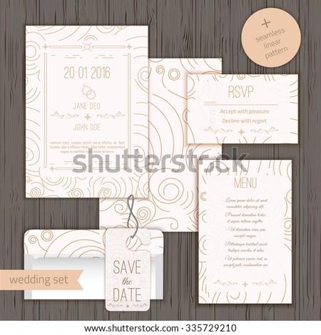 Modern Linear Wedding Invitation Card Design Set Include Save The Date RSVP