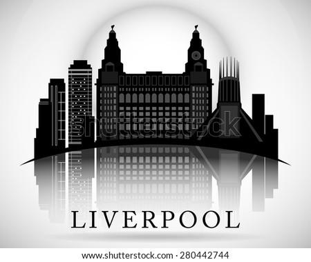 Modern Liverpool City Skyline Design. England - stock vector