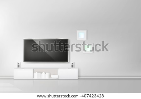 Modern living-room with TV and hifi equipment - stock vector