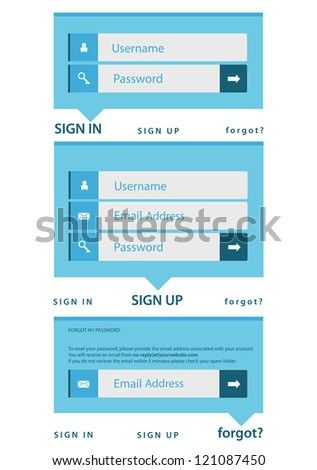 modern log in, sign in, sign up page interface. light background - stock vector