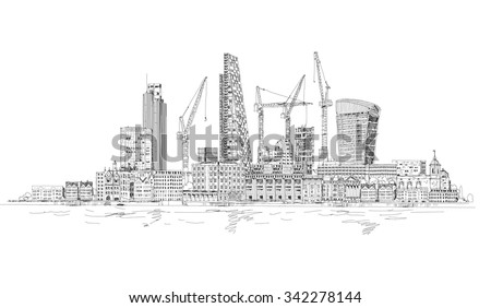 Modern London view from the River Thames, very detailed Illustration with lots of cranes and building construction sites - stock vector