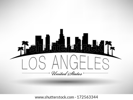 Modern Los Angeles City Skyline Design - stock vector