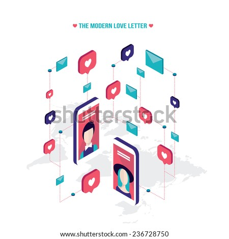 Modern love letter People messaging on St Valentines day Modern isometric flat style