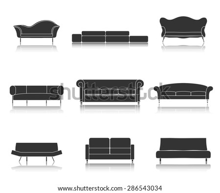 Modern luxury black sofas and couches furniture icons set for living room vector illustration - stock vector