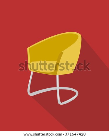 Modern luxury single yellow chair flat design on red background vector illustration - stock vector