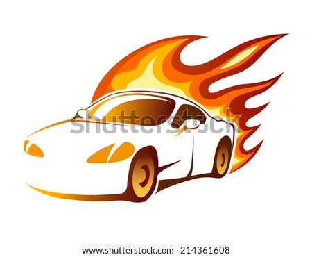 Modern luxury sporty coupe sports car with fiery orange burning flames depicting speed  vector illustration on white - stock vector