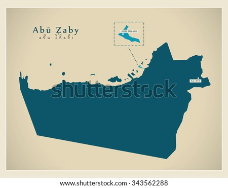 Modern Map - Abu Zaby AE - stock vector