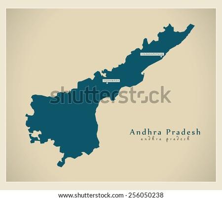 Modern Map - Andhra Pradesh IN - stock vector