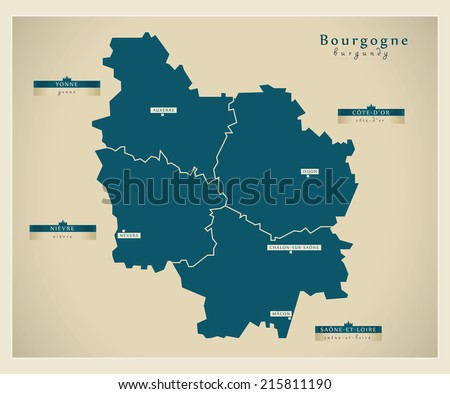 Modern map - Burgundy FR - stock vector