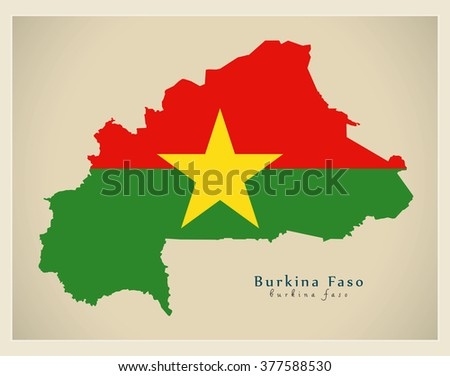 Modern Map - Burkina Faso flag colored BF